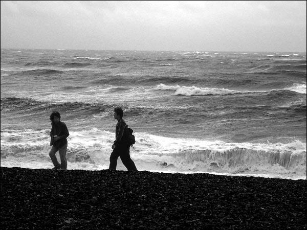 tourists on brighton beach